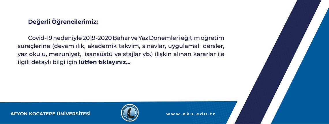 Covid-19 Nedeniyle 2019-2020 Bahar ve Yaz Dönemleri Eğitim Öğretim Süreçlerine İlişkin Alınan Kararlar