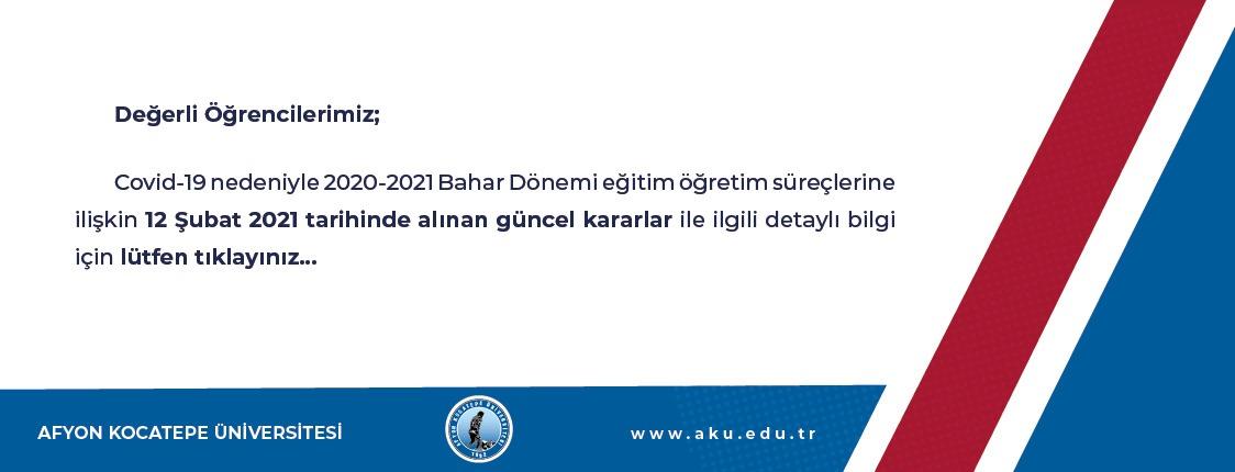 2020-2021 Bahar Dönemi Eğitim Planlaması